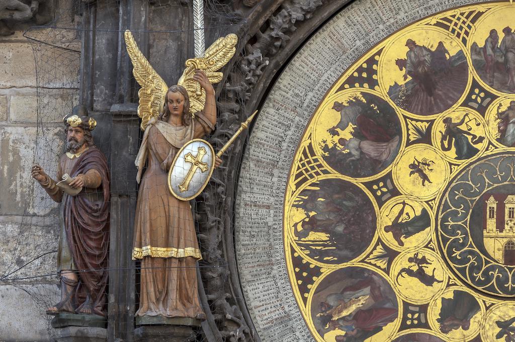 Calendar view of the astronomical clock of Prague, Czech Republic.